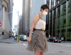 Woman in dress that wrinkles when air quality is poor.